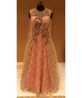 Enticing Beige Net Embroidery Gown.