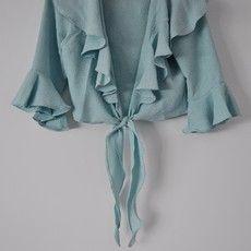 Blusa Azul Turquesa de Babados