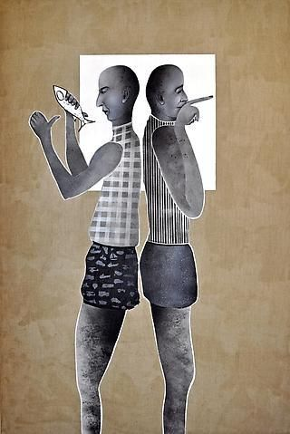 Khaled Takreti 'Le second s'appelle (The Silver Fish)' 195 x 130 cm. Acrylic on Canvas 2011