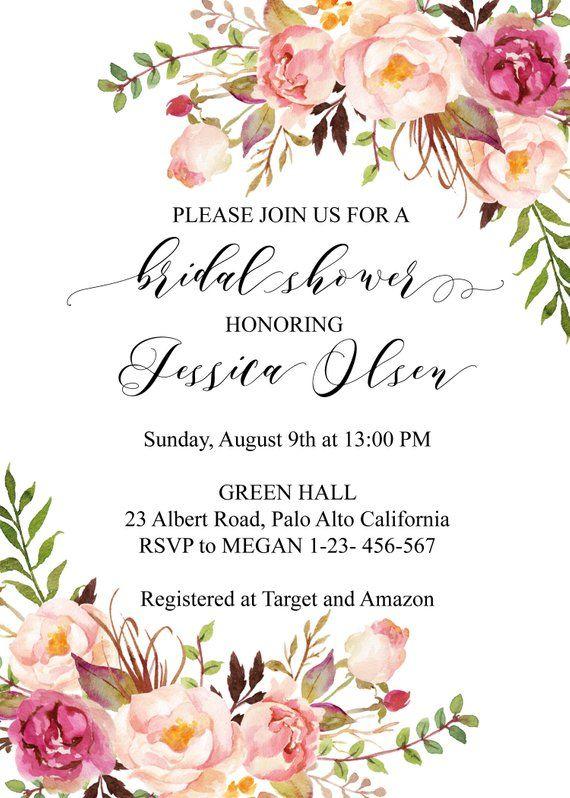 boho chic bridal shower invitation template  blush floral bridal shower invites  rustic bridal