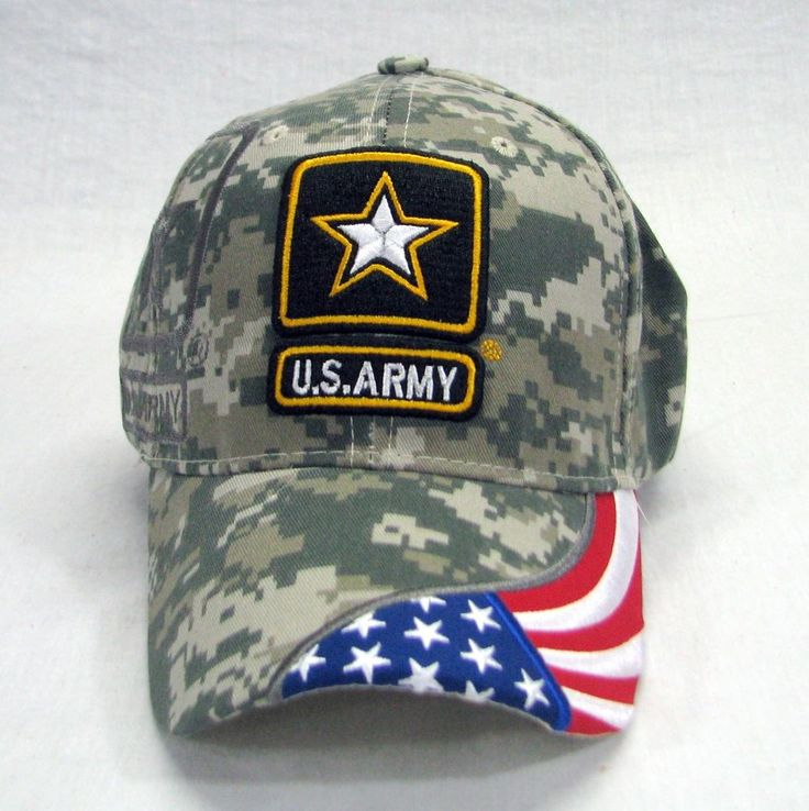 Military US Army Camoflauge Embroidered 3D Shadow and Flag Baseball Hat Adj. #Unbranded #BaseballCap