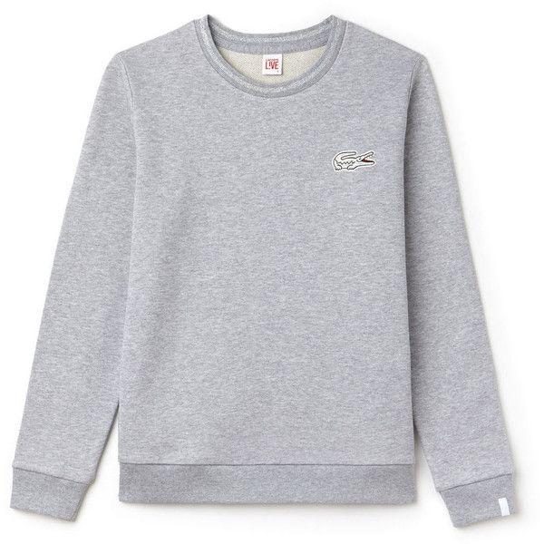 Grey Women's Lacoste Live Oversized Crocodile Fleece Sweatshirt ($55) ❤ liked on Polyvore featuring tops, hoodies, sweatshirts, grey top, oversized tops, grey sweatshirt, fleece sweatshirt and croc top