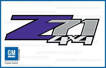 Chevy Silverado Z71 PURPLE 4x4 decals stickers - FPUR (2007-2013) bed side 1500 2500 HD (set of 2)