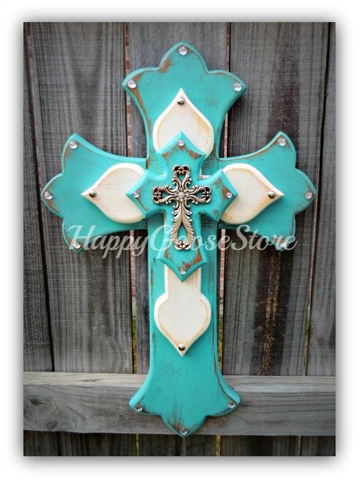 Medium Wall CROSS - Antiqued Turquoise & White with Silver Top Cross on Etsy, $55.95
