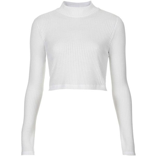 TOPSHOP Long Sleeve Polo Crop Top ($20) ❤ liked on Polyvore featuring tops, shirts, crop tops, topshop, white, polo shirts, long-sleeve crop tops, jersey crop top, long sleeve shirts and white shirt