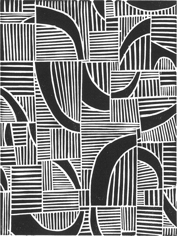Linocut Print – JUXTAPOSITION – Modern Minimalist Print – 8″x10″ Lino Print