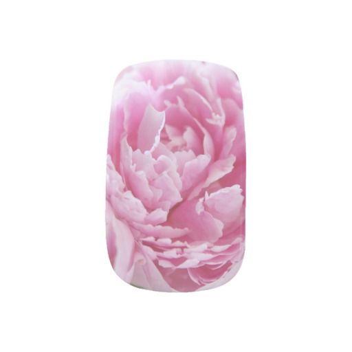 Pink peonies nail art #NailDecals, NailArt, NailStickers, #Zazzle