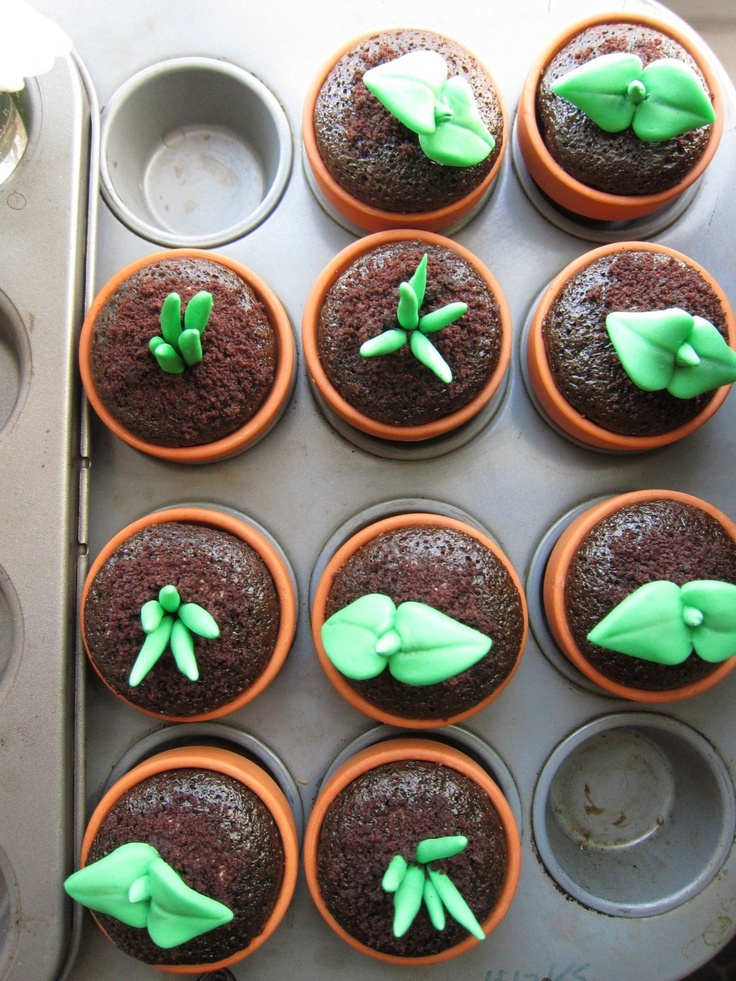 Sweet Sprout Cupcake Toppers (12 Sprouts). $24.00, via Etsy.