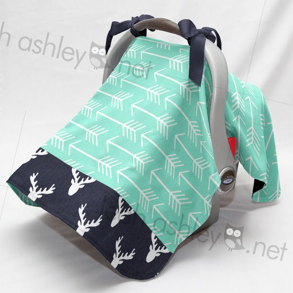 Carseat Canopy by Leah Ashley, Custom Nursery Design, leahashley.net made in:  mint arrow,  navy woodland deer,  navy,   Carseat Canopy - Carseat Tent - Carseat Cover - Infant Carrier Cover - Infant Travel - Baby Gift - Nursery Accessories