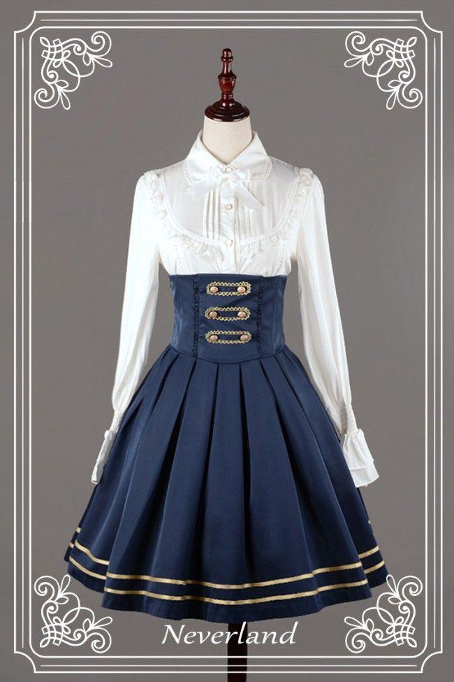 Neverland Lolita ~Nancy Clara Academy~ College School Embroidery Lolita Skirt