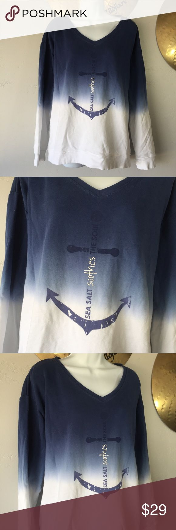 "Peace Love World Dip Dye Terry Knit Sweatshirt Peace Love World Dip Dye French Terry Knit V Neck Blue Sea 3X  Nice preowned condition.   Says ""Sea salt soothes the soul on front""   Size tag is missing but measures asa 3X size. Please check measurements below before purchasing.   Armpit to armpit- 32"" Length- 27.5"" Peace Love World Tops Sweatshirts & Hoodies"