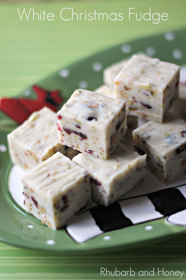 White Christmas Fudge {Rhubarb and Honey} #SundaySupper