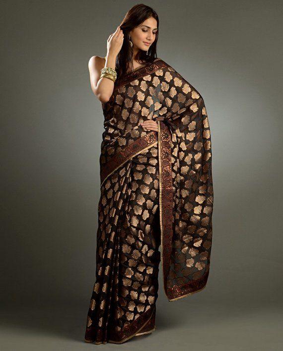 latest party golden saree golden zari border - Google Search