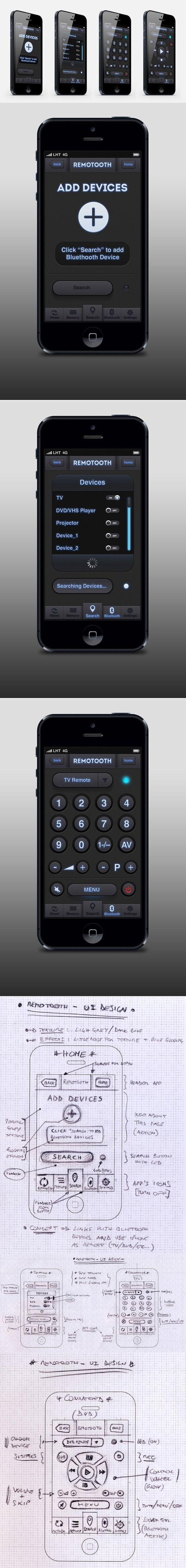 """REMOTOOTH"" - UI Design for iPhone by Tobia Crivellari, via Behance"