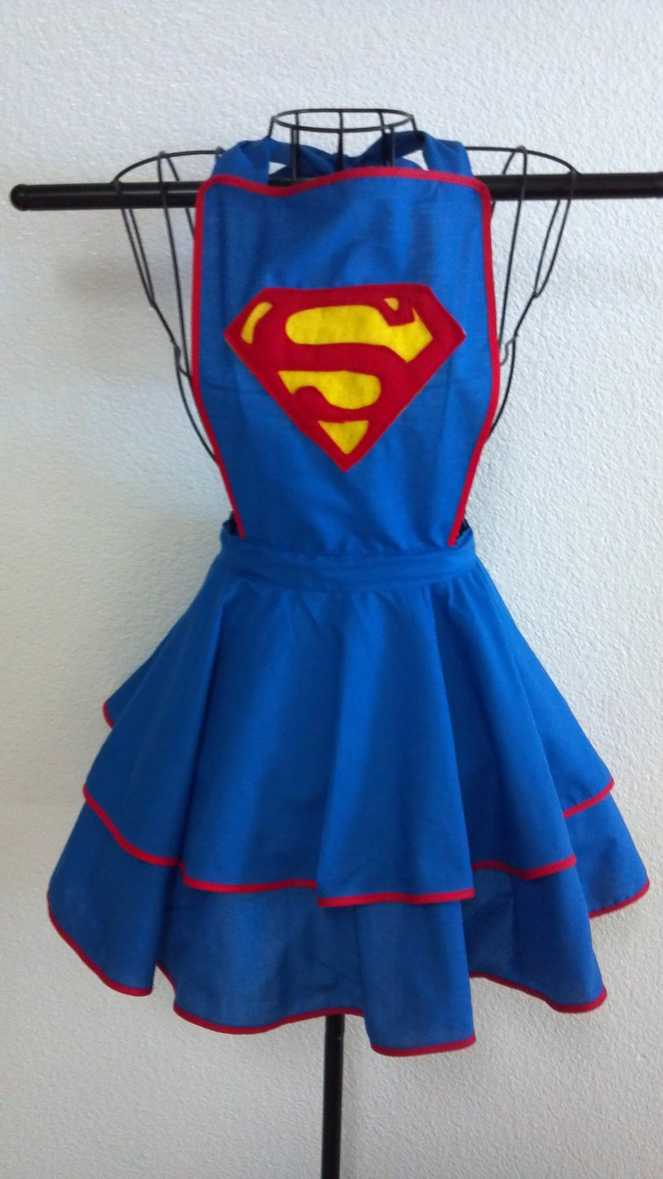 Superman Inspired vintage style Blue Apron With Felt Superman Logo- MADE TO ORDER. $50.00, via Etsy.