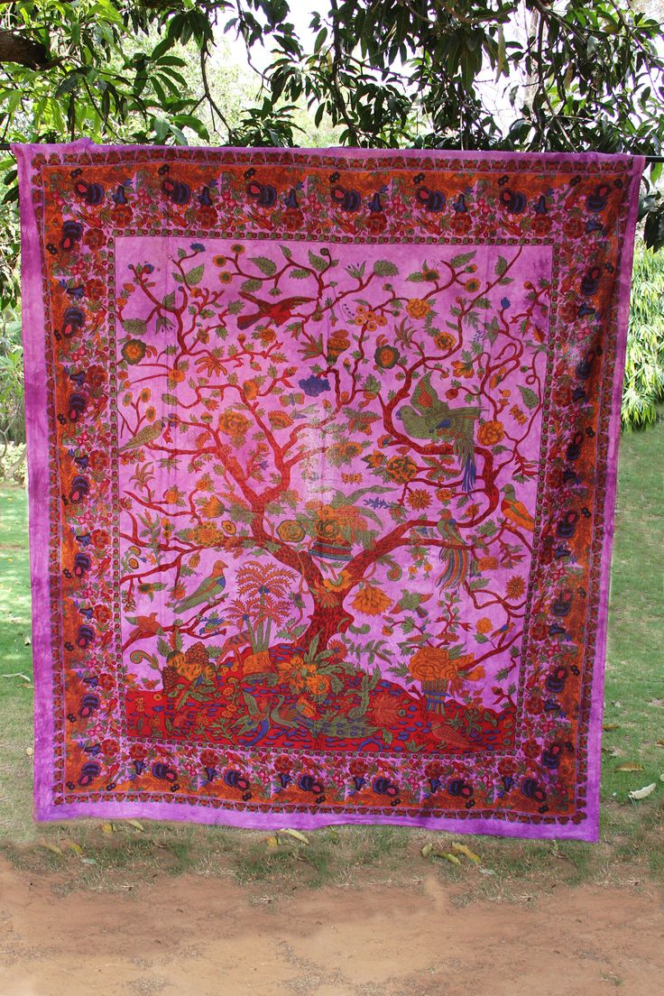 Jungle Scenery Purple Tapestry