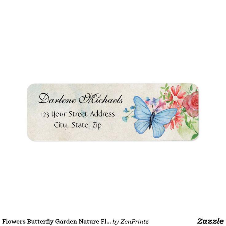 Flowers Butterfly Garden Nature Floral Custom Address Labels