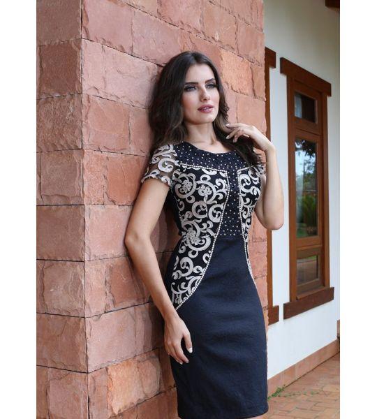 600233 - Vestido Executiva Bordado - Floratta Modas