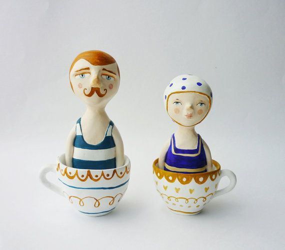 How cute are these????  English bather in a teacup - Paper clay figurine - Lord James