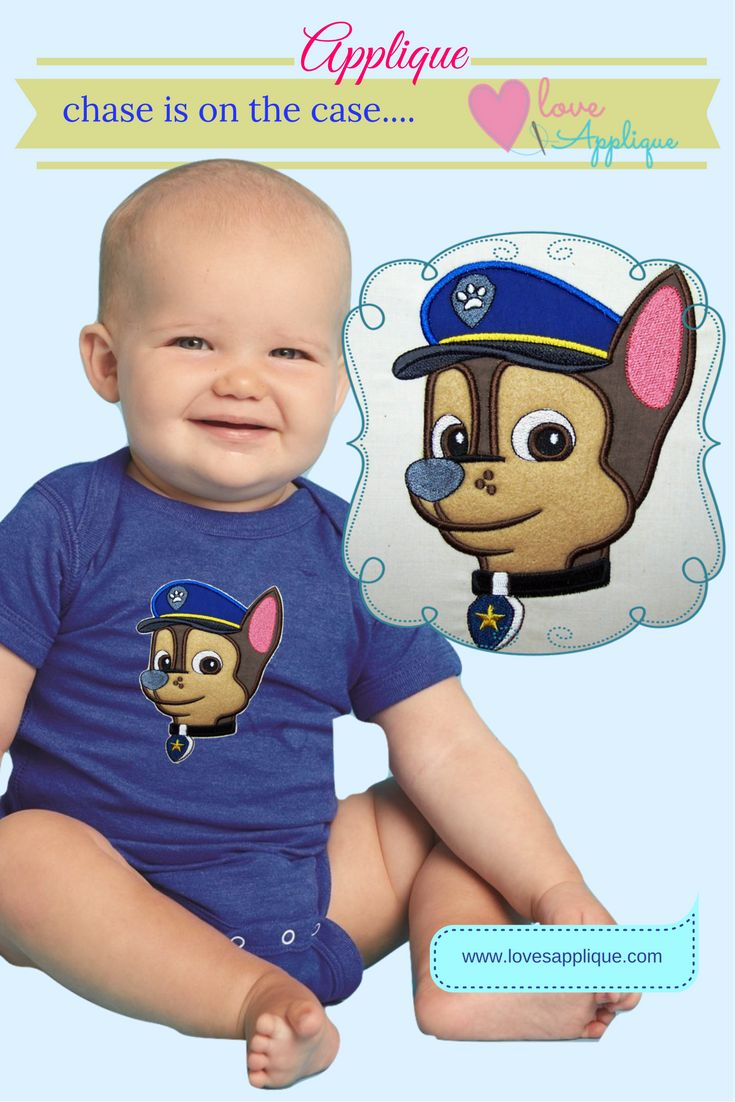 Chase Applique. Chase Paw Patrol. Chase Party Ideas. Paw Patrol Applique. Paw Patrol Designs. www.lovesapplique.com