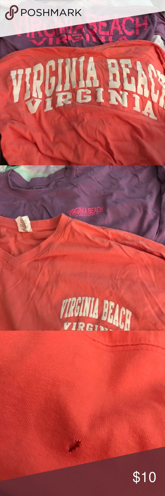 Virginia Beach Jersey Shirts Two VA Beach Tunic Shirts - purple is an XL but runs small. Coral is a M. peace Tops Tees - Long Sleeve