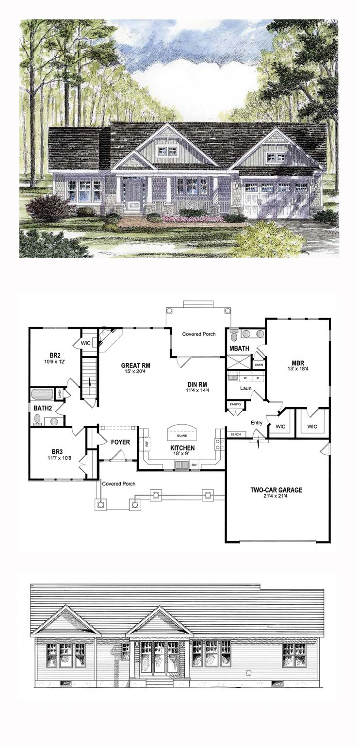M Ranch House Plan 94182