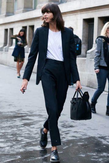 suit and flats | HarperandHarley