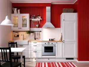 Cocina con paredes rojas