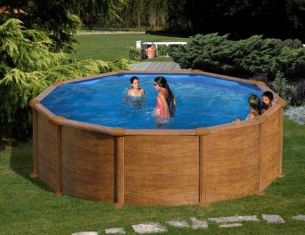 Kit piscine hors sol acier ronde MALDIVAS aspect bois