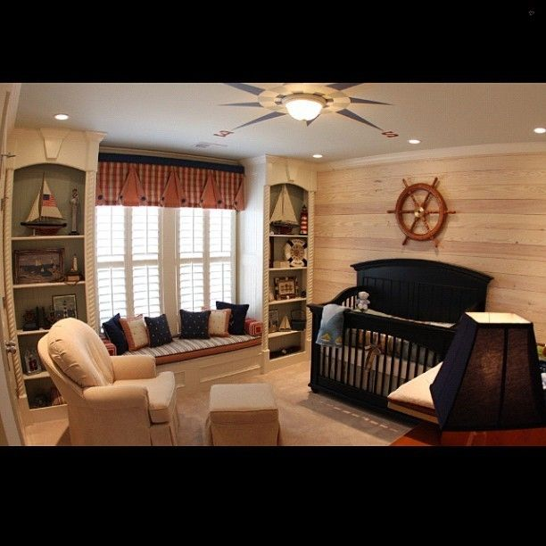 Sailor themed nursery, love the hardwood wall! #nursery #baby #instababy #instakids #kids #moms #instahome #instadecor #instadesign #instadaily #instagramer #igdaily #picoftheday #pictureoftheday #photooftheday #follow #home #homedecor #interiors #interiordecorating... - Interior Design Ideas, Interior Decor and Designs, Home Design Inspiration, Room Design Ideas, Interior Decorating, Furniture And Accessories