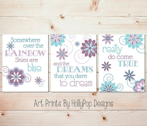 Baby Girl Nursery Decor Purple Aqua Teal Girls Room Wall Art Somewhere Over the Rainbow Set of 3 Prints Nursery Trio Inspirational Song Art