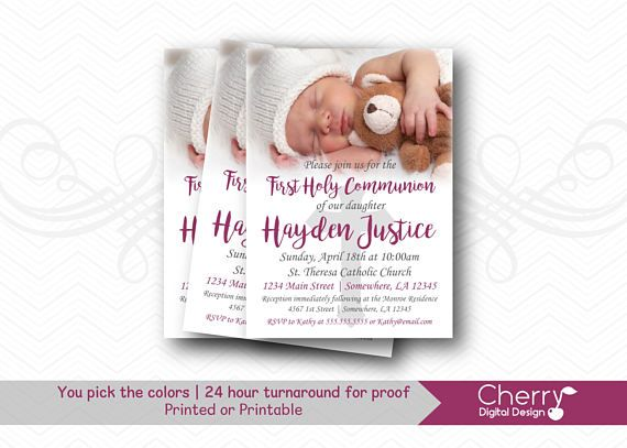 First Holy Communion Invitation with photo for Girl | Communion Invitations with Picture | Christening Invitation |  Dedication Blessing