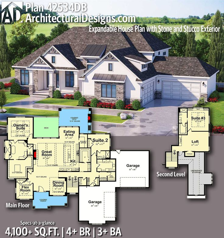 Plan 42534DB: Expandable House Plan with Stone and Stucco Exterior – Kayla Bramall