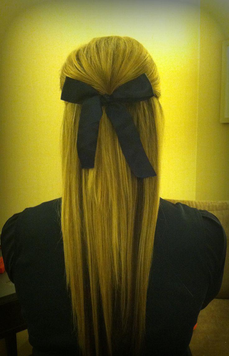 my friend's hair i did for cheerleading! #poof #cheerleading @Jessica Rains