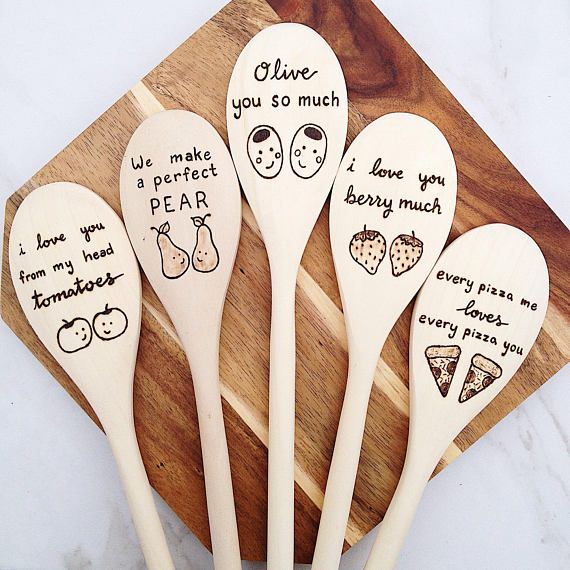 Funny Foodie Gift, Food Puns wooden spoons, gift for mom from child, gift for grandma, olive you, Ch