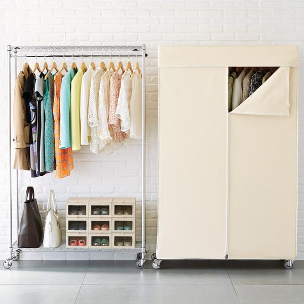 InterMetro Garment Rack with Cotton Canvas Cover | The Container Store