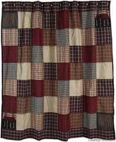Ashfield Shower Curtain - patchwork primitive country bathroom shower curtain - $60