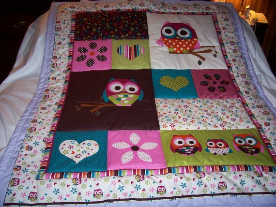 Love: Handmade Baby, Baby Quilts, Baby Beautiful, Owls Baby Product, Hearts Cotton, Owl Quilts, Baby Toddler Quilt, Cotton Baby Toddler, Beautiful Owls