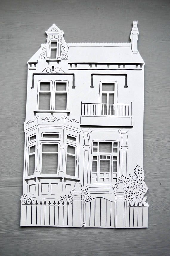 This intricate papercut can be personalised to any house or building you like, simply send us a photo of the building you would like us to work from. We can also add writing too, for examples, names, address, dates or quotes! Our papercuts are carefully hand cut with a craft knife from a single sheet of quality paper (160gsm). The papercut will be cut from your choice of A4 or A3 sized paper. Our papercuts are made to order and cut by hand meaning they are unique as no two are identical. ...