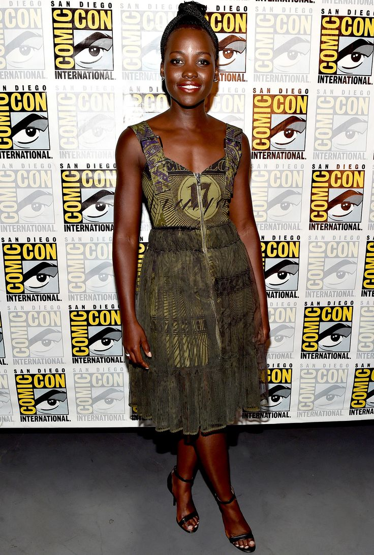Lupita Nyong'o in a green pattern Givenchy dress