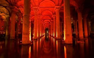 Underground waterway was used as a reservoir for water storage for the Great Palace and other buildings. It is 132 m length, by 65m wide. There are 336 columns in the cistern. Most of the column capitals are either in Corinthian or Doric Style. It's impressive. http://www.privatetour.net/tours/istanbul-tours