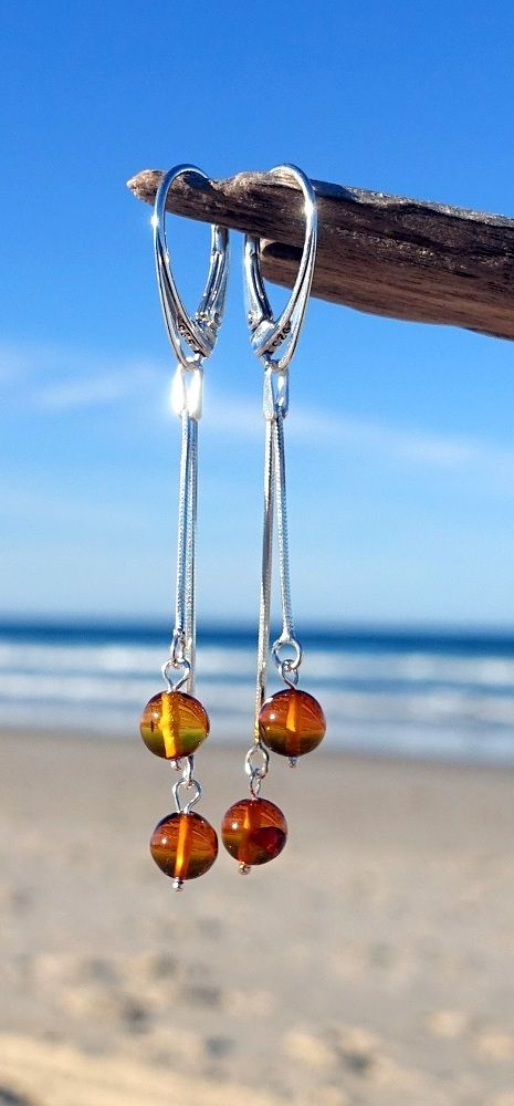 Baltic Amber Silver Dangle Earrings, Baltic Amber Jewelry, Unique jewelry, check it out:)
