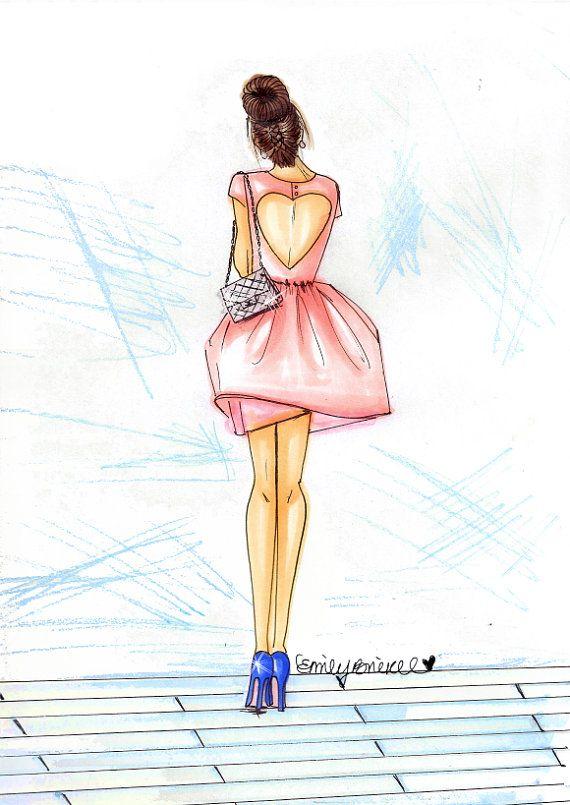 """Ilustración de moda de impresión de """"dama"""", bollo de corte vestido rosa morena…"""