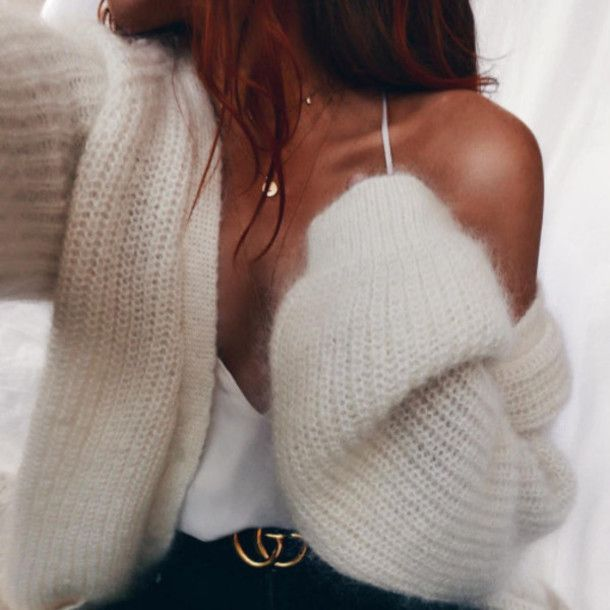Cardigan: tumblr white white top gucci necklace oversized date outfit logo belt fluffy