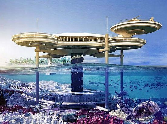 Underwater Hotel in Dubai. I designed a house that looked a lot like this back in the early 70's. No water though. Must have watched too much Jetsons:)