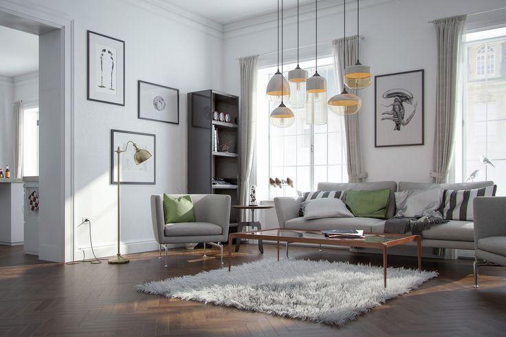 Scandinavian loft, Interior design and rendering: AXION visual. Follow us on facebook: https://www.facebook.com/axionvisual Follow us on twitter: https://twitter.com/axionvisual