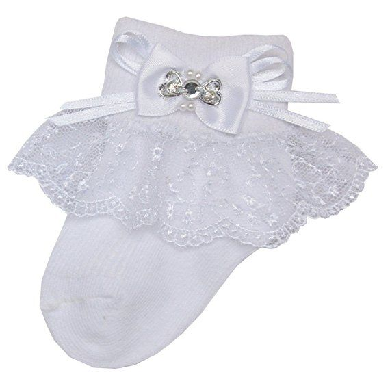 Infant Baby Girls Cotton Frilly Lace Organza Ankle Socks Christening 3-6 Pairs