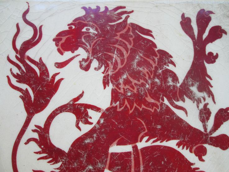 Red Dragon Tile : Maw co red lustre dragon rare arts crafts movement