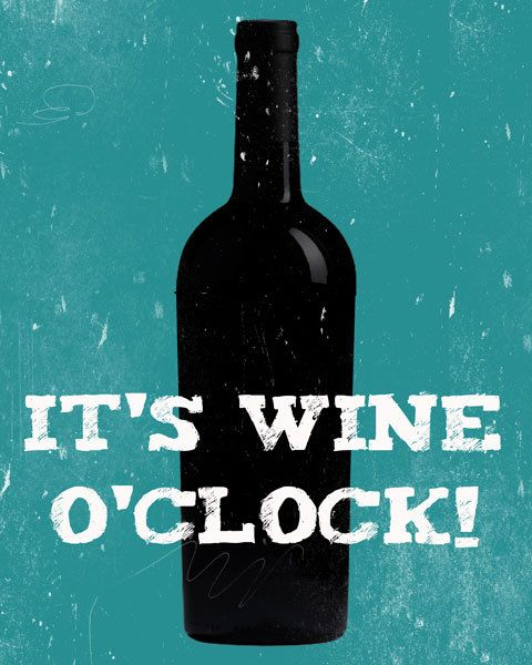 It's Wine O'Clock Art Print Teal Blue  Funny Sayings by evivart