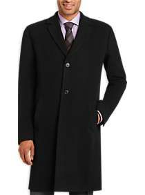 Kenneth Cole New York Black Wool and Cashmere Topcoat